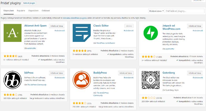 populárne pluginy wordpress